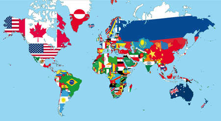 maps globes and flags: The world map with all states and their flags Illustration