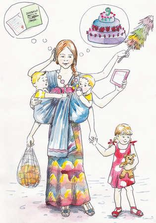 Multiarmed mama wykonuje dużo pracy na opiekę nad dziećmi
