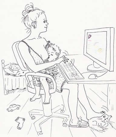 amamantando: Mamá amamanta al niño mientras el padre duerme