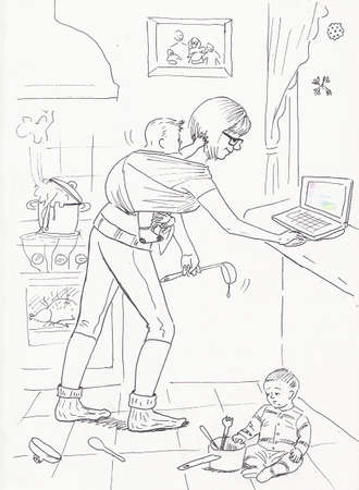 amamantando: Mamá con una honda del bebé en la cocina dispone de tiempo y para preparar y trabajar en el ordenador Foto de archivo