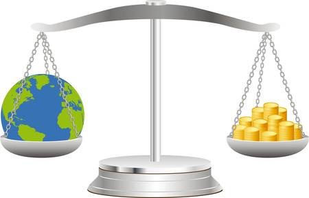 The globe lies in balance on scales together with coins