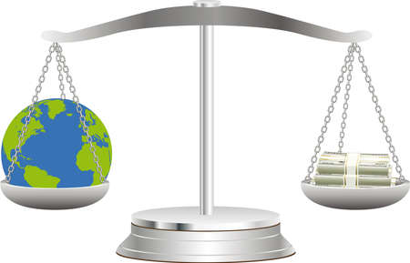 The globe lies in balance on scales together with dollars Illustration