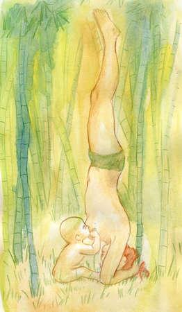Dziewczynka karmi syna z mlekiem piersi w środku lasu deszczowego