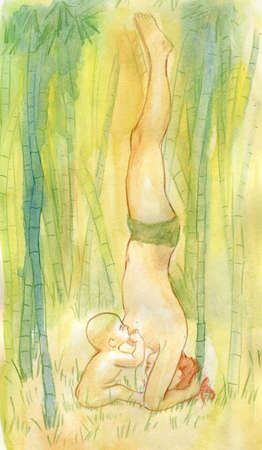 mother milk: The girl feeds the son with chest milk in the middle of a rainforest