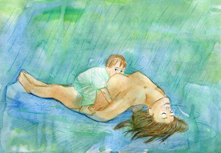 The naked girl feeds the son with chest milk, while it is raining Stock Photo