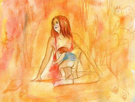 The red girl, doing gymnastics, nurses the child