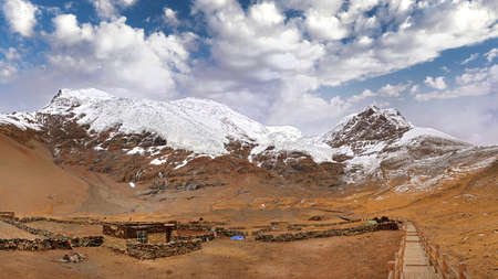 Panoramic view of the Korola Glacier in Tibet covering the Himalaya Mountains, against a blue sky with white clouds.