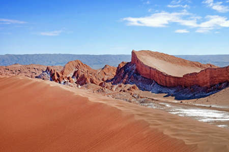 Desert landscape of sand dunes and the Amphitheatre in the Moon Valley in red and orange colors near San Pedro de Atacama, in the northern part of Chile, against a blue sky covered by clouds.