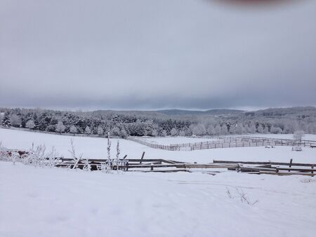 Gorgeous landscape at a farm in a Canadian winter