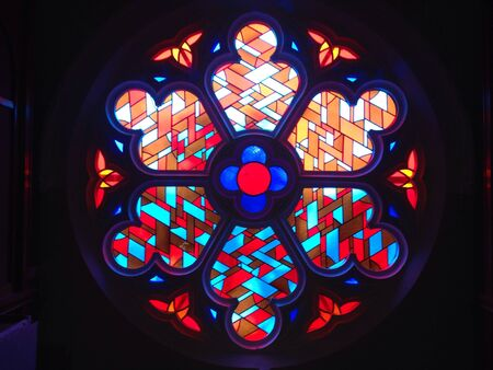 A very nice antic stained glass at a church Stock fotó