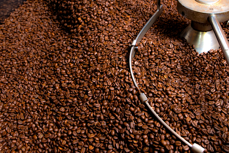 Roasting process of coffee, screening and cooling in the hopper 写真素材