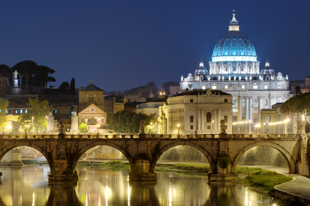 night view of Rome, St. Angelo Bridge and St. Peter Reklamní fotografie
