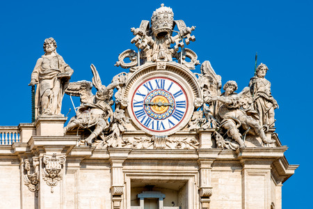 St. Peters front view, Rome, Vatican, detail of clock