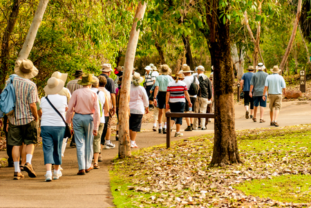 walk path: group of old and healthy people walking in the nature Stock Photo