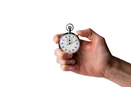 timer in hand, ingedrukt