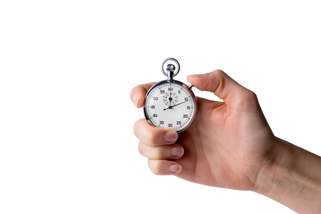 chronometer: timer hold in hand, button pressed