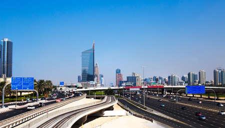 Dubai, UAE - November 03, 2017: Transportation lines of Dubai. View at main traffic street of Dubai.