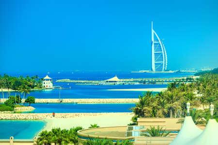 Dubai, UAE - November 03, 2017: Coastline of Dubai. View at Hotel Sail. Famous Burj al Arab hotel.