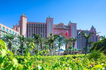 Dubai, UAE - November 03, 2017: resort hotel on Palm island in Dubai. Atlantis The Palm hotel in summer. Editorial