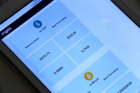 New york, USA - February 02, 2018: Bitcoin exchange to dollar rate application on tablet screen. Editorial