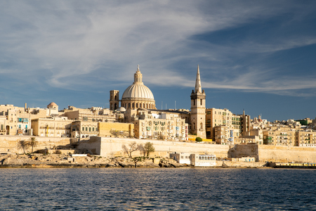 Malta. Valletta skyline. Valletta cityscape at sunset. Malta resort.