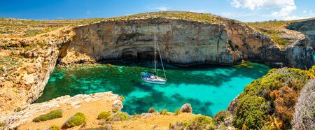 Malta. Summer tropical landscape with picturesque bay. Comino island. Attraction of Malta. Summer nature background.