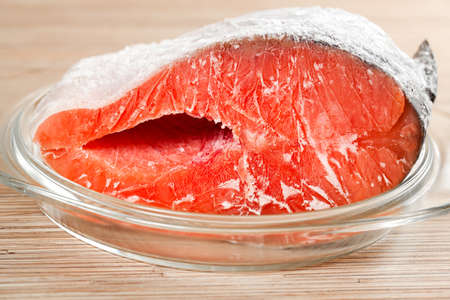 The red frozen fish, salmon, trout  photo