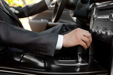 shifting: Hand of the driver of the car  Stock Photo