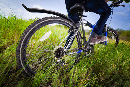 Bicycle wheel in the green grass photo