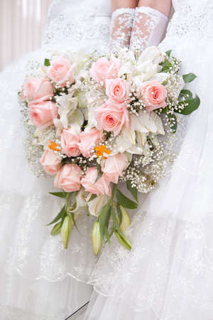 bridal bouquet: A beautiful bridal bouquet at a wedding party
