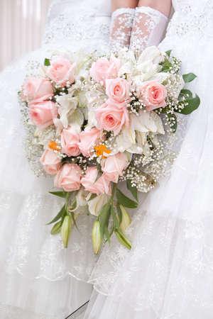 bruidsboeket: Een mooi bruidsboeket op een bruiloft feest Stockfoto
