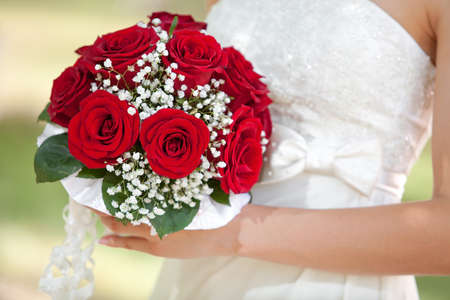 A beautiful bridal bouquet at a wedding party  photo