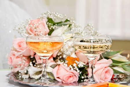 結婚式のシャンパン 写真素材