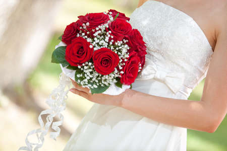 wedding party: A beautiful bridal bouquet at a wedding party