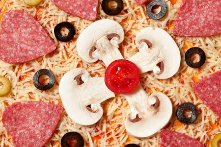 Olives, sausage, mushrooms and cheese lying on the pizza dough Stock Photo - 16577308