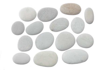 丸い形の石のセットは、白い背景上に孤立して 写真素材