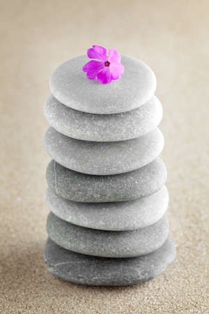 raked: The group of stones with a flower lies on small sea sand Stock Photo