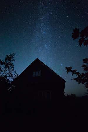 Milky Way in the night sky  Stock Photo