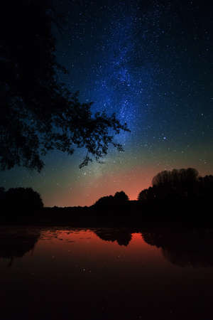 The Milky Way against the night lake  photo