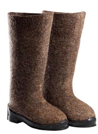 valenki: Winter boots,  felt boots isolated on white background