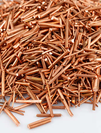 Copper wire is cut into pieces  photo