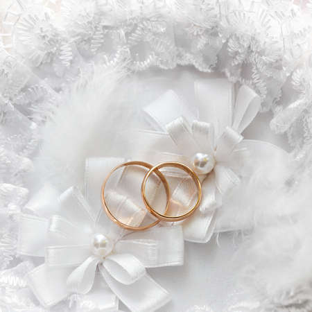 Wedding gold ring, decorations for a wedding celebration.  photo