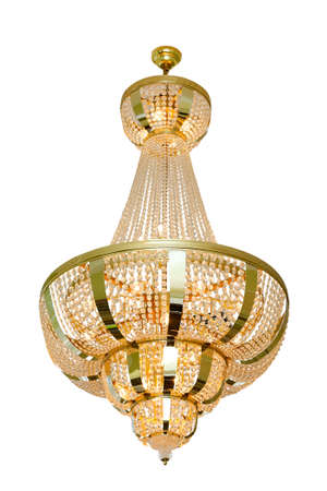 chandelier background: Large chandelier for hall lighting, isolated on a white background.