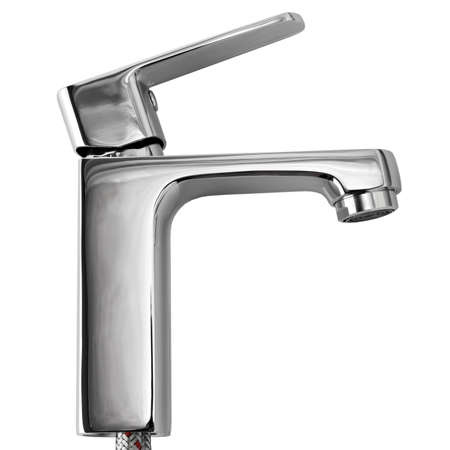 hot water tap: The kitchen water crane is isolated on a white background Stock Photo