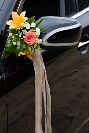 The elegant car for a wedding celebration photo