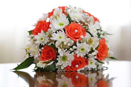 A beautiful bridal bouquet at a wedding party Stock Photo