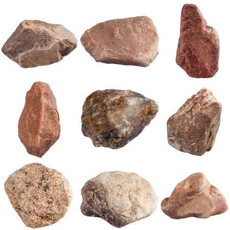 Set of stones isolated on white background. Natural minerals mined in Russia. Stock Photo