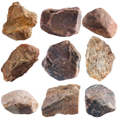 Set of stones isolated on white background. Natural minerals mined in Russia. Foto de archivo