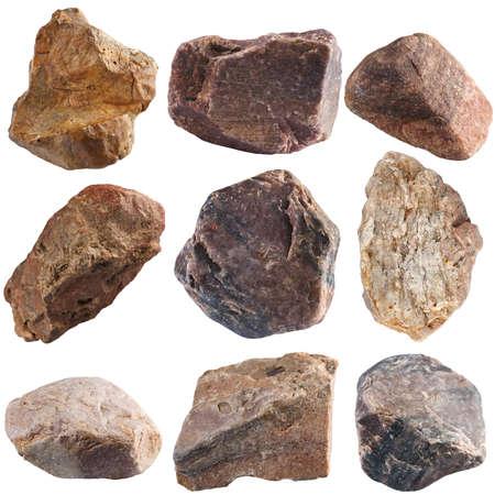 Set van stenen geïsoleerd op een witte achtergrond. Natuurlijke mineralen gedolven in Rusland.