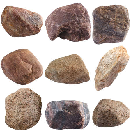 mined: Set of stones isolated on white background. Natural minerals mined in Russia. Stock Photo